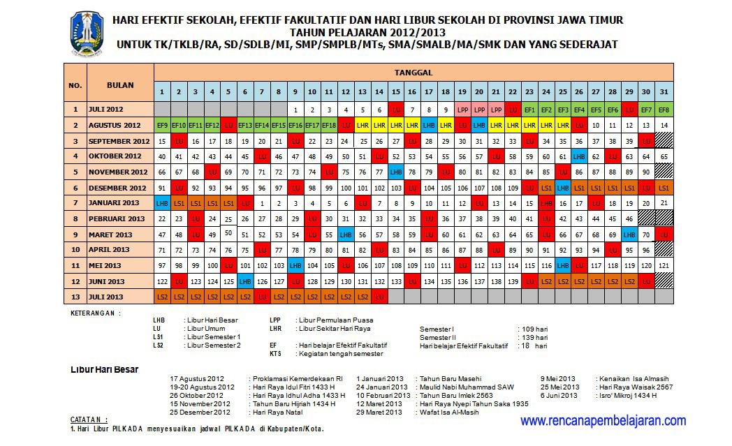 Gambar di atas merupakan contoh tampilan kalender pendidikan 2012/2013